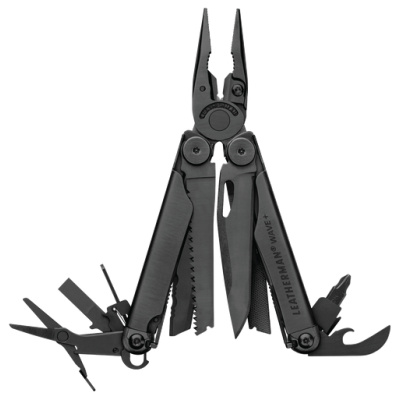Multitool, Leatherman, Wave+, 17f, zwart rvs